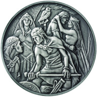 Masterpiece Medal in silver: .999 silver / 250 g (appr.) / 80 mm (appr.) / Design: Lee Robert Jones / Mintage: 500.