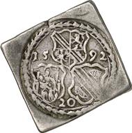 Johann Georg of Brandenburg. Uniface Quarter-Thaler Klippe of 20 Kreutzers. EuL 450. From Gorny & Mosch Auction 183 (2009), 5209.