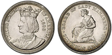 Commemorative coin struck for the Columbian Exposition in Chicago in 1893. From Künker 159 (2009), 2332.