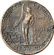 Sixtus IV (Pope 1471-1484). 1481 bronze medal by Andrea Guazzalotti in occasion of Italy's liberation from the Turks. From Dogan Collection, Auction Gorny & Mosch 172 (2008), 6014.