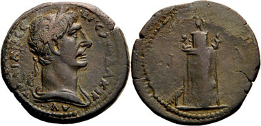 Trajan, AE-Hemidrachm, 107/8. Rv. Pharos. From Auction Dr. Busso Peus Nachf. 406 (2012), 604.