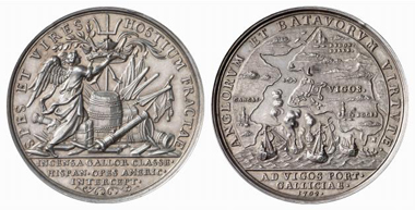 1702 silver medal, by P. H. Müller, unsigned, of the annihilation of the Spanish-French fleet at Vigo. From Künker auction 116 (2006), 4089.