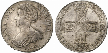 Anna. Crown 1703, London. Dav. 1338. Aus Auktion Künker 184 (2011), 5445.