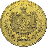 100-perpera piece, minted in honour of Nicola I of Montenegro in celebration of the 50th anniversary of his governance and his ascension to King.