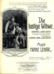 Piano score from 'The Merry Widow', published 1906. Source: Walter Anton Collection/ Wikipedia.