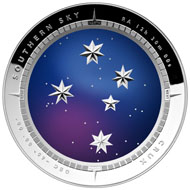 The 2012 $5 Southern Sky: The Crux Silver Proof Colour Printed Domed coin.