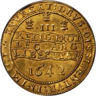 40141: GREAT BRITAIN. Triple Unite, 1642. Oxford Mint. PCGS AU-58. Realized $161,000.