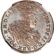 40734: POLAND. 18 Groszy, 1702-EPH. Leipzig Mint. NGC MS-64. Realized $43,125.