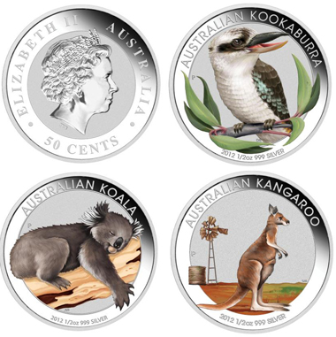 Each coin: Australia / 0.5 AUD / 1/2oz 999 silver / 15.591 g / 36.60 mm / Mintage (set): 5,000.