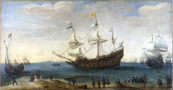 Hendrick Cornelisz Vroom, Die Mauritius und andere Ostindienfahrer, um 1600-1630. Rijksmuseum Amsterdam.