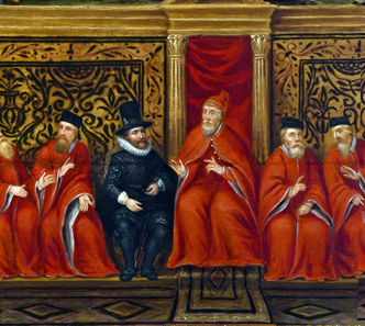 The future visits the past: Reception of the Dutch ambassador Cornelis van der Mijle by the doge of Venice in the year 1609. Unknown painter (probably Odoardo Fialetti, 1573-c.1638), Oil on panel. Loan: Zeeuws Archief Middelburg, The Netherlands, Collection community of Veere.