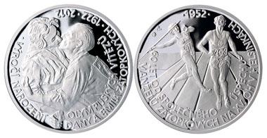 The Zátopek medal: .999 silver / 37 mm / 31.1 g / design: Petr Horák / mintage: 1,000.