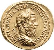 20321: ROMAN EMPIRE. Macrinus (217-218 AD). AV aureus (20mm, 6.81 gm, 6h). Rome, AD 218. Estimate: $40,000. Realized: $203,150.