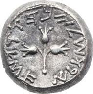 20123: Jewish War (66-70 AD). AR shekel (21.2 mm, 14.10 gm, 12h). Year 4. Estimate: $30,000. Realized: 65,725.