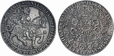 Maximilian I, 1490-1519. Double guldiner, struck in 1517 in Antwerpen. From Künker Auction 188 (2011), 577.