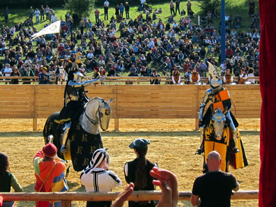 Just before the joust the knights pay their respect to the ladies. Photo: KW.