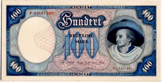 Entwurf der Vorderseite einer Banknote zu 100 DM aus dem Jahr 1949 von Hermann Virl.