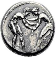 Selge (Pisidien), Stater, 380-370 v. Chr., Silber. Der Ringkampf wurde anlässlich der 18. Olympiade 708 v. Chr. zugelassen.