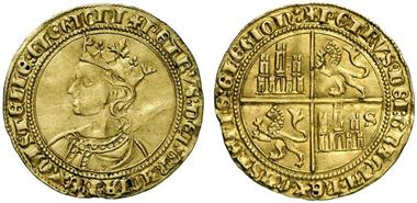 Pedro I., 1350-1369. Dobla zu 35 Maravedis, Sevilla. Aus Auktion Künker 218 (2012), 5420.