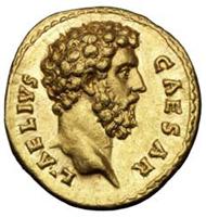 Aureus with the bust of Aelius Verus, Roman, 137 AD.