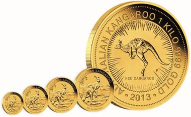 Australia / 999 gold / Denominations: 15 AUD / 1/10oz / 3.111 g / 16.60 mm / Mintage: 200,000 // 25 AUD / 1/4oz / 7.777 g / 20.60 mm / Mintage: 150,000 // 50 AUD / 1/2oz / 15.554 g / 25.60 mm / Mintage: 100,000 // 100 AUD / 1oz / 31.112 g / 32.60 mm / Mintage: 350,000 // 3,000 AUD / 1 kilo / 1,000.100 g / 75.60 mm / Mintage: Unlimited.