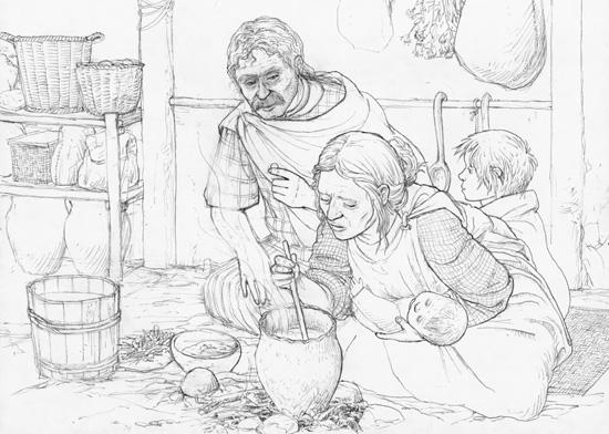 Mitte 3. Jahrhundert v. Chr. Ein keltischer Bauer spricht mit seiner Ehefrau. Gezeichnet von Dani Pelagatti / Atelier bunterhund. Copyright MoneyMuseum / Zürich.