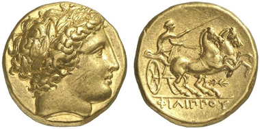 Philip II. Gold stater, Pella, 340-328. From Künker auction 216 (2012), 251.