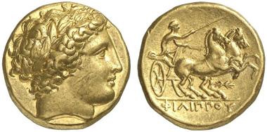 Philipp II. Goldstater, Pella, 340-328. Aus Auktion Künker 216 (2012), 251.