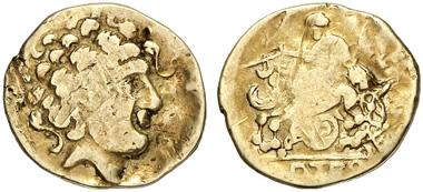 Celts. Helvetii. AV-1/4 stater, 2nd century BC. From Künker auction 204 (2012), 77.