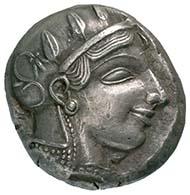 Athen. Tetradrachmon, um 450 v. Chr. Kopf der Göttin Athena. Rv. Eule n. r. Foto: MoneyMuseum Zürich.
