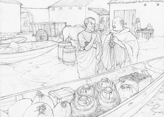 Ende 2. Jahrhundert n. Chr. Marcus, ein römischer Händler, verzollt seine Ladung an der Zollstation von Turicum und kommt mit Unio, dem römischen Zollbeamten, ins Gespräch. Gezeichnet von Dani Pelagatti / Atelier bunterhund. Copyright MoneyMuseum / Zürich.