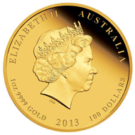 Australia / 999 gold / Denomination: 15 AUD / 1/10oz / 3.111 g / 18.60 mm / Mintage: 5,000 // 25 AUD / 1/4oz / 7.777 g / 22.60 mm / Mintage: 5,000 // 100 AUD / 1oz / 31.112 g / 39.34 mm / 3,000. All three coins are also available in a Three-coin-set limited to 3,000 pieces.