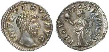 Römischer Denar aus dem Jahr 162/3 n. Chr. mit deutlichen Spuren von Stempelglanz. Aus Auktion Künker 216 (2012), 1068.