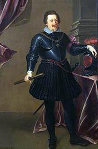 Georg Pachmann, Porträt des Kaiser Ferdinand II. in schwarzem Harnisch, in ganzer Figur (1578-1637), um 1635. Wien, Kunsthistorisches Museum Inv.Nr. GG_3115. Quelle: Wikipedia.