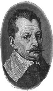 Albrecht von Wallenstein. Part of a portrait by Anthony Van Dyck, 1629 from a younger reprint. Source: Wikipedia.
