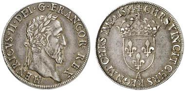 Henri II (1547-1559). Teston du moulin 1554, Paris. Aus Auktion Künker 217 (2012), 2193.