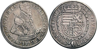 Ferdinand II (Count of Tyrol 1564-1595). Reichsthaler, no year (1577/1599), Hall. From Peus Auction 407 (2012), 2789.)