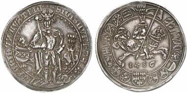 Sigismund der Münzreiche (1446-1496). Guldiner 1486, Hall. Aus Auktion Künker 201 (2012), 379.