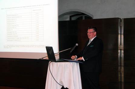 Wirtschaftshistoriker Prof. Dr. Markus Denzel brachte durch seine lebendige Art des Vortrags die vielen Fakten und Daten nahe. Foto: Münze Hall.