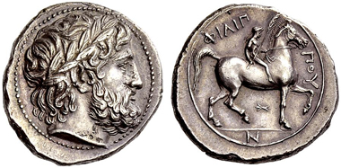 27: Philipp II, tetradrachm. Estimate: CHF 15,000. Realized: CHF 50,000.