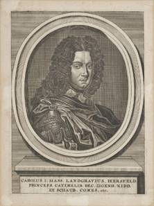 Charles I, Landgrave of Hesse-Kassel. Copper engraving around 1700. Source: Vrije Universiteit, Amsterdam / Wikipedia.