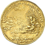 2 gold gulden 1677, Kassel, Eder-gold. Rv. Riverscape on the Eder, in the foreground, the river god is n. l. storing oars and an urn in the reeds. Friedberg 1271 ('Unique'). From Künker auction 220 (October 30, 2012), 7589. Estimate 100,000 EUR.