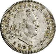 Charles I 1/8 reichsthaler 1723, Kassel. Rv. The crowned Hessian lion stands on a pedestal assigned with an