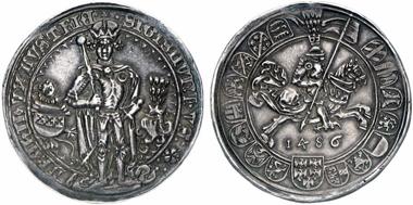 Sigismund the Wealthy (1446-1496). Guldiner 1486, Hall. From Künker 201 (2012), 379.
