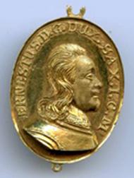 Sachsen-Gotha. Gnadenpfennig Ernst I. der Fromme und Elisabeth Sophie ohne Fassung, 1653/65. Wendel Elias Freund, Gold. © Stiftung Schloss Friedenstein Gotha.