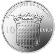Rückseite der neuen 10-Euro-Münze. Die Vorderseite lernen Sie kennen, wenn Sie an der Grande Bourse von Monaco teilnehmen.