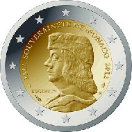 The national side of the new 2-Euro commemorative coin of Monaco.