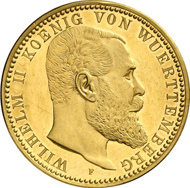 6170: WURTEMBERG. William II (1891-1918). 5 marks, 1905. J. 176. Of great rarity, PP. Estimate: 10,000 EUR. Final Price: 26,000 EUR.