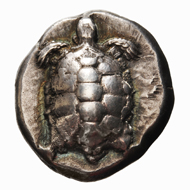 Lot 9. AR Stater Aigina. Ca. 456/45-431 BC. SNG Cop. 516; Dewing 1683. 12.33 g. About EF. Very attractive specimen with some iridescent highlights. EUR 1,500.