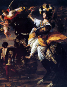 Christine Marie of France as Minerva. Oil painting by Charles Dauphin from around 1630. Source: Wikipedia.